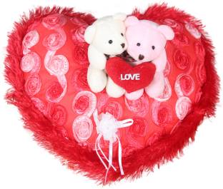 b78b9adf58a4 Tied Ribbons Heart shaped Box with Teddy and Roses and Wooden Tag ...