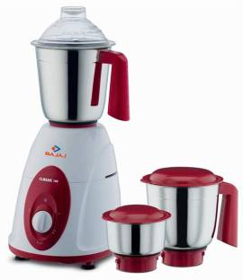 BAJAJ Classic 750 W Mixer Grinder (3 Jars, white and red)