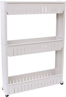 Okayji 3 Tier Multipurpose Shelf With Removable Wheels Plastic Kitchen Rack