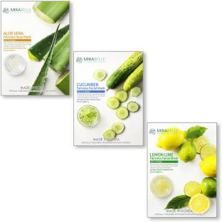 Mirabelle KOREA FAIRNESS FACIAL MASK (ALOEVERA, CUCUMBER, LEMON - ACL - COMBO PACK