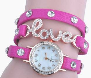 SOOMS Beautiful Pink Leather Strap Diamond Studded Love PENDENT EXCLUSIVE VALENTINE COLLECTION LADIES WOMEN BRACELET