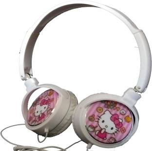 TECHNOCHITRA TC-18 PINK COLOR HELLO KITTY DESIGN HEADPHONES Wired Headset with Mic