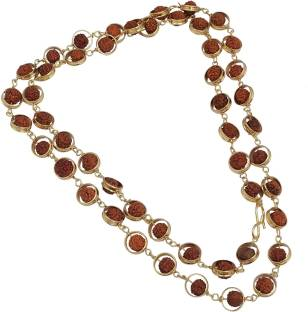 ab3c2a30ac5 Sahaya Rudraksha Mala with golden circles 51 Beads 5mm bead size for Japa  and Wearing purpose