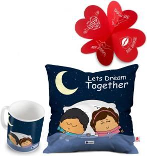 Indigifts Cushion Greeting Card Mug Gift Set