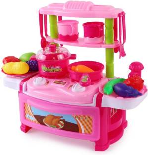 Webby Kids Kitchen Set Children Toys Large Cooking Simulation Model Play Pink