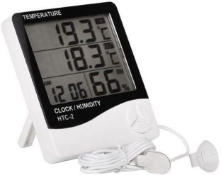 Insten LCD Large Screen Digital Indoor Outdoor Centigrade to Fahrenheit Thermometer Hygrometer Meter with Dual Sensors Memory