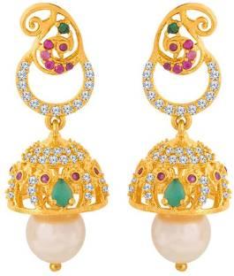b44d5a30e Voylla Gold Plated Beautiful Jhumka Earrings Cubic Zirconia Brass Jhumki  Earring
