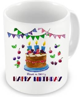 Factorywala Have A Berry Happy Birthday Gift For Boy Girls Cake Printed Ceramic Mug