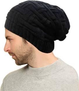 560492a3bb1 BEZAL Black Slouchy woolen Long Beanie Cap for Winter skull head Unisex Cap  Cap