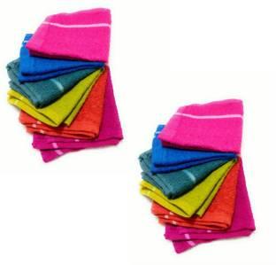 Cotton Colors Floor Wipes Cloth / Mops / Pocha Set of 12 Pcs (9*9 Inches) Multicolor 9 Napkins