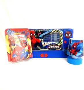 Shopkooky Spiderman Cartoon Art Set Combo Small Diary With Pen LED Lamp Jumbo Pencil
