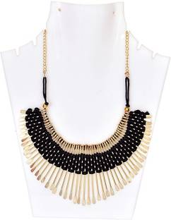 03a69ce68a8 Pingaksh Crafty Collection Black Alloy & Fabric Necklace Gold-plated Plated  Fabric, Metal Necklace