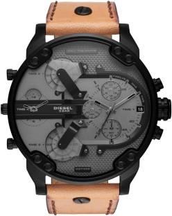 2ec2979c2 Diesel DZ7406 Diesel Men's Mr. Daddy 2.0 Black IP and Brown Leather  Chronograph Watch Watch