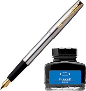 3 Blue ink Parker Frontier Stainless Steel GT Gold Trim ink Fountain Pen Chrome