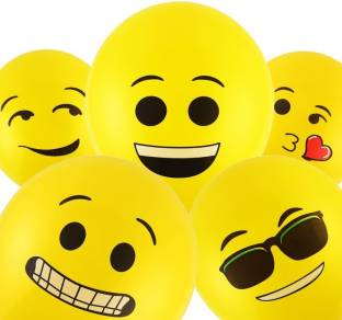 Smartcraft Printed Emoji Balloons Latex Yellow Emoji Smiley Balloons (Pack Of 100) Balloon