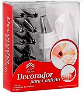 Perfect Pricee With Steel Nozzles Muffin Dessert Decorators Reusable & Washable 12 Piece Piping Bag Nozzles Cake Decorating Frosting Icing Cream Syringe Piping Bag Tips Silver Kitchen Tool Set