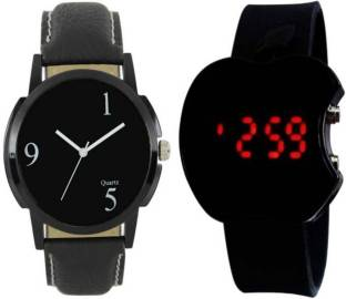 PMAX LEATHER 195 BLACK AND LED APPLE BLACK NEW STYLISH FOR Watch - For Men