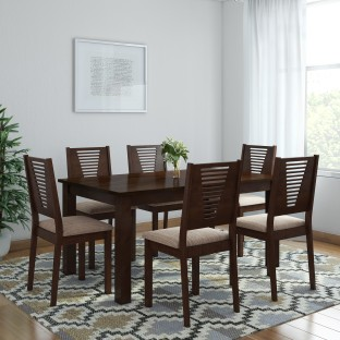Furn Central Amber Solid Wood 6 Seater Dining Set