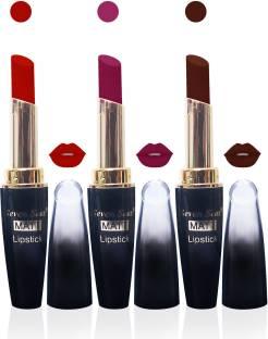 Seven seas cosmetics makeup 4g matte lipstick combo set of 3 color