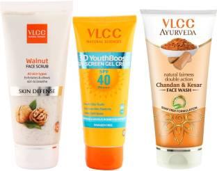 VLCC Sunscreen Gel, Face Scrub and Facewash Combo