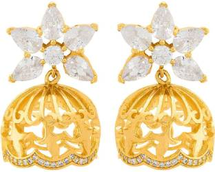 1f08abb38 Voylla CZ Embellished Lovely Floral Jhumka Earrings Cubic Zirconia Brass  Jhumki Earring