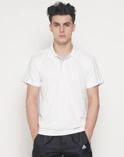 ADIDAS Solid Men's Polo Neck White T-Shirt