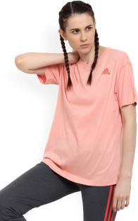 6b78232351d8c2 ADIDAS Solid Women's Round Neck Pink T-Shirt - Buy Tacros ADIDAS ...