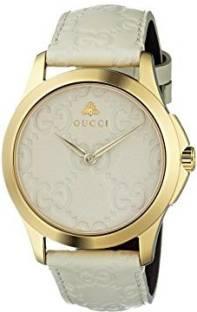 6895d7f9f5c GUCCI white9399 Gucci Quartz Gold-Tone and Leather Casual White Watch(Model   YA1264033