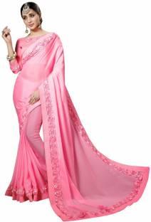 7b0a31cea7a4c Buy Pratham Blue Self Design Bollywood Georgette Orange Sarees ...