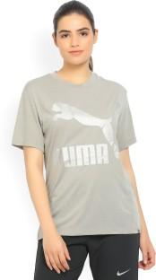 Puma Printed Women\u0027s Round Neck Grey T-Shirt
