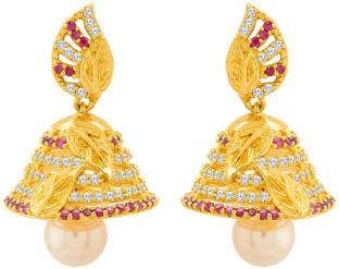 1944f67e0 Voylla Swarnam CZ Gold Plated Jhumka Earrings Cubic Zirconia Brass Jhumki  Earring