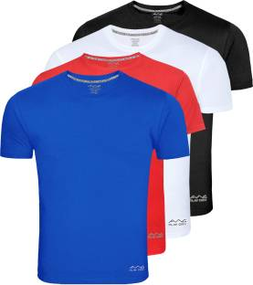 AWG Solid Men Round Neck Multicolor T-Shirt