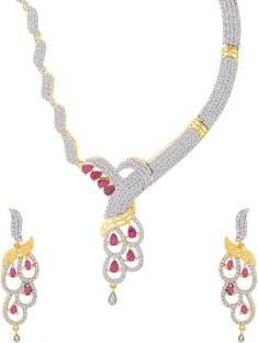 471859b9d Voylla Glorious Necklace Set Encrusted with Ruby CZ Cubic Zirconia  Gold-plated Plated Brass Necklace