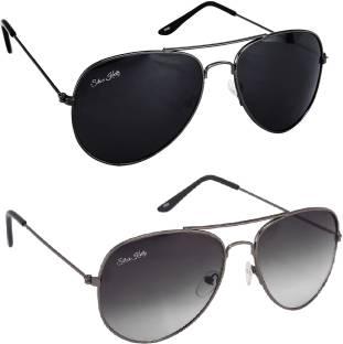 fd74fea8e13 Buy Romeo Safari Aviator Sunglasses Black For Men Online   Best ...