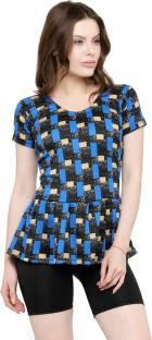 ad587319f31d8 N-Gal Women Frock Style Black Blue Print Half Sleeves   Shorts Swimsuit  Printed Women s