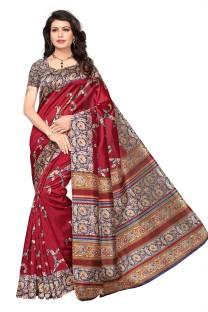 58960064f4b3ec Buy C J 129 Printed Kalamkari Cotton Black, Red Sarees Online @ Best ...