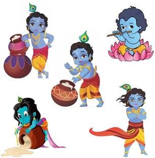 Pixel Print Small Cute Bal Krishna Switch Board Baby Room Wall Sticker Set Of 5 Sticker Price In India Buy Pixel Print Small Cute Bal Krishna Switch Board Baby Room Wall