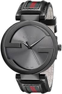 05d12458e4f gucci YA133206 Interlocking G Black Dial Black Leather Strap Watch - For Men