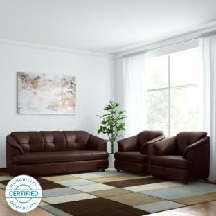 Merveilleux GIOTEAK Leatherette 3 + 1 + 1 Brown Sofa Set