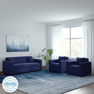 WESTIDO Lowkey Beige Fabric 3 + 1 + 1 Navy Blue Sofa Set