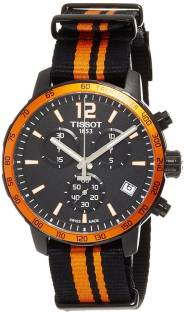 4e00cd367 Tissot T095.417.37.057.00 Quickster Chronograph Black/Orange Synthetic  Nylon Watch - For