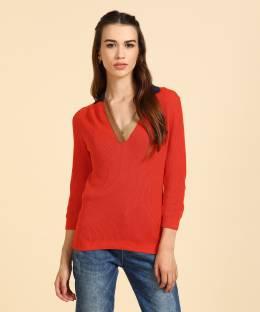 178232f1cb United Colors of Benetton Self Design V-neck Casual Women s Orange Sweater