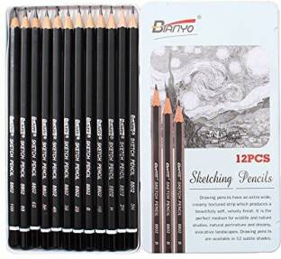 Bao Core Professional 12Pcs Sketch Drawing Writing Pencils Set With Metal Case In 3H 2H H