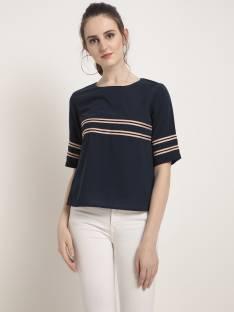 Rare Casual Short Sleeve Solid Women Dark Blue Top