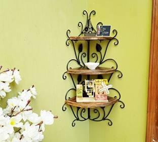 Onlineshoppee Wooden, Iron Wall Shelf
