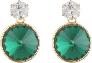 923e3d2fb Lavishable Sparkling CZ diamond Round shape (Dark Green) Diamond Alloy Drop  Earring