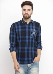 ed5fb6c736 Kivon Men s Checkered Casual Blue Shirt - Buy Kivon Men s Checkered ...