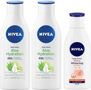 NIVEA Aloe Body Lotion 200 ml & Extra Whitening SPF 15 120 ml Combo