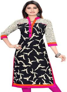 fc8b189177 Attire Casual Animal Print Women s Kurti - Buy Black Attire Casual ...