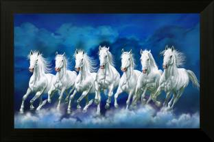 SAF Seven Horses UV Textured Framed Digital Reprint 14 inch x 20 inch Painting